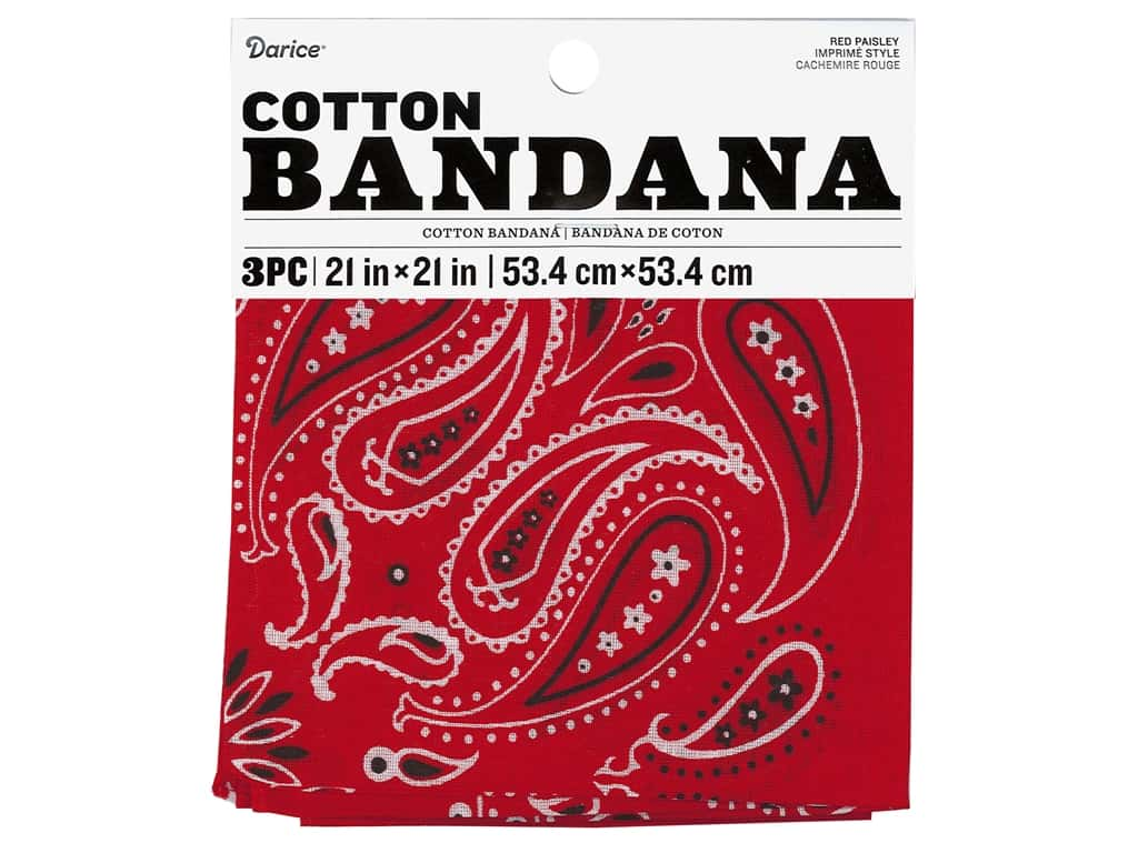 Darice Bandana 21 x 21 in. Paisley Red 3 pc.