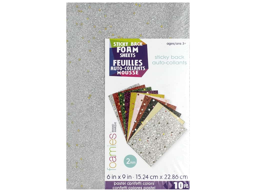 Darice Foamies Sheet 6 in. x 9 in. Sticky Back Confetti Pastel 10 pc