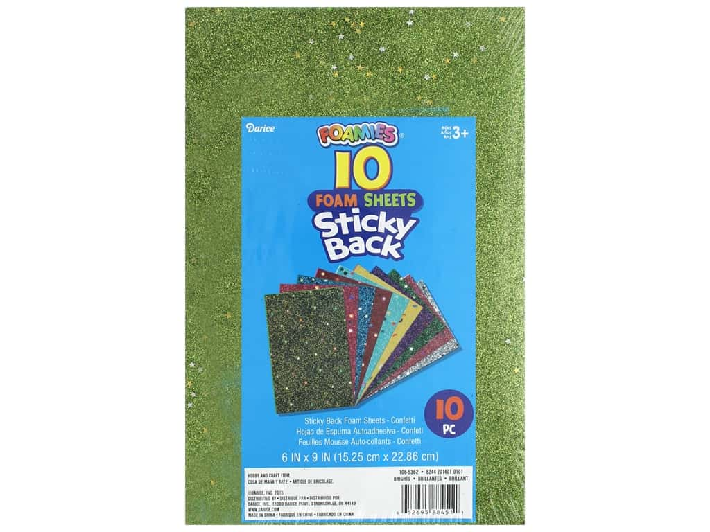 Darice Foamies Sheet 6 in. x 9 in. Sticky Back Confetti Brights 10 pc