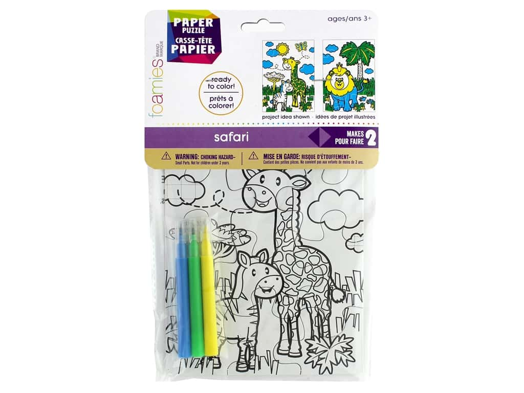 Darice Foamies Puzzle 5 in. x 7 in. With Mini Markers Safari 2 pc