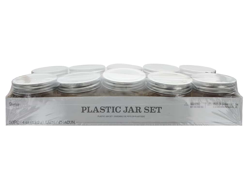 Darice Plastic Jar Regular Mouth 4 oz 10 pc