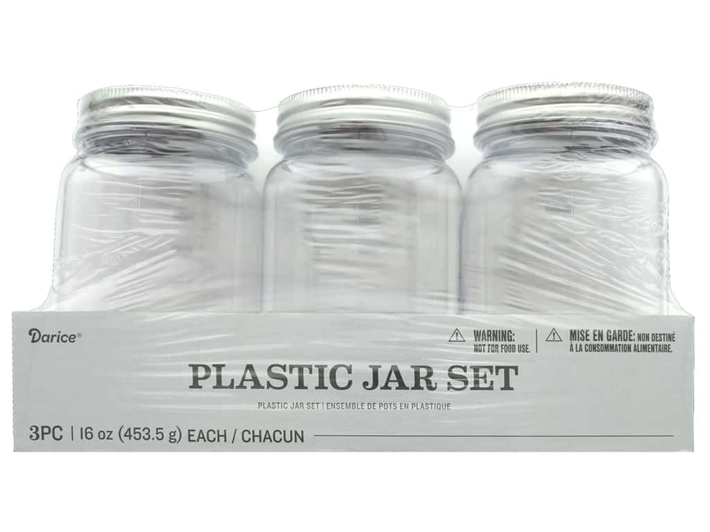 Darice Plastic Jar Regular Mouth 16 oz 3 pc