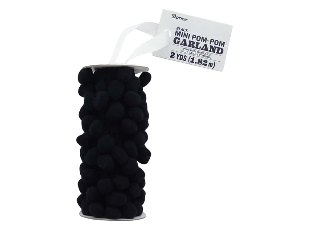 Darice Mini Pom Pom Garland 2 yd. Black