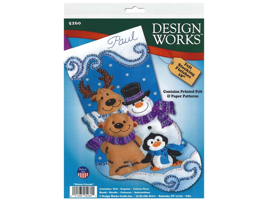 Design Works Kit 18 in. Felt Stocking Winter Friends