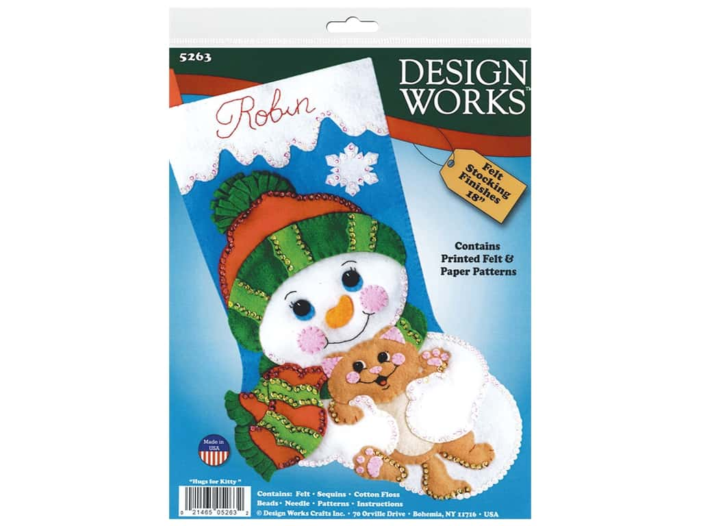 Design Works Kit 18 in. Felt Stocking Hugs For Kitty
