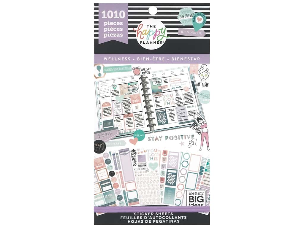 Me&My Big Ideas Happy Planner Sticker Value Pack Wellness