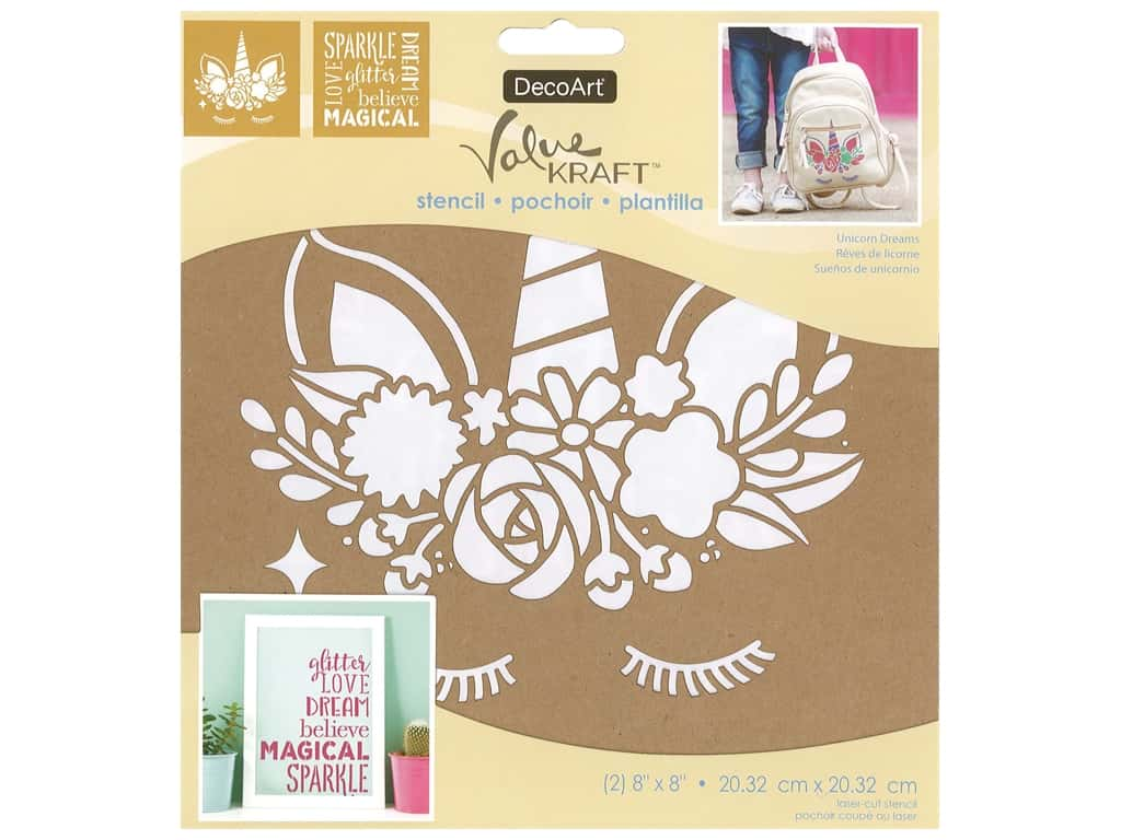 DecoArt Stencil Value Kraft 8 in. x 8 in. Unicorn Dreams
