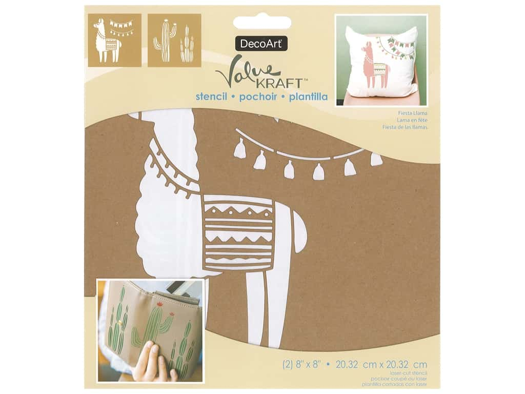 DecoArt Stencil Value Kraft 8 in. x 8 in. Fiesta Llama
