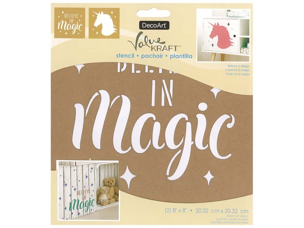 DecoArt Stencil Value Kraft 8 in. x 8 in. Believe In Magic