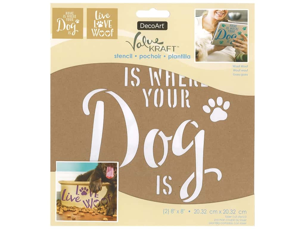 DecoArt Stencil Value Kraft 8 in. x 8 in. Woof Woof