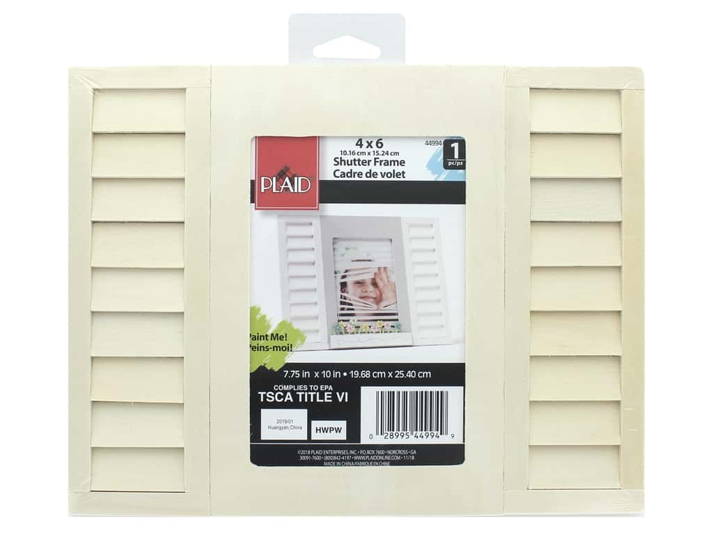 Plaid Wood Frame Shutter With Easel Back 7.75 in. x 10 in.
