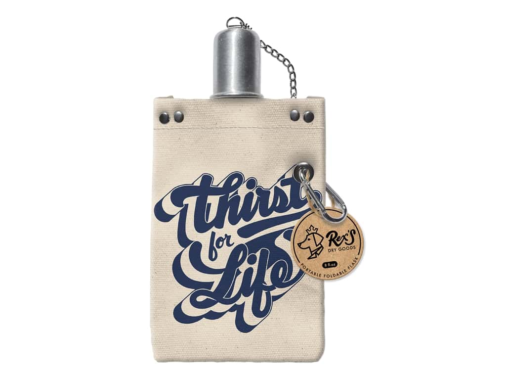 Molly & Rex Canvas Flask Thirst For Life 8 oz