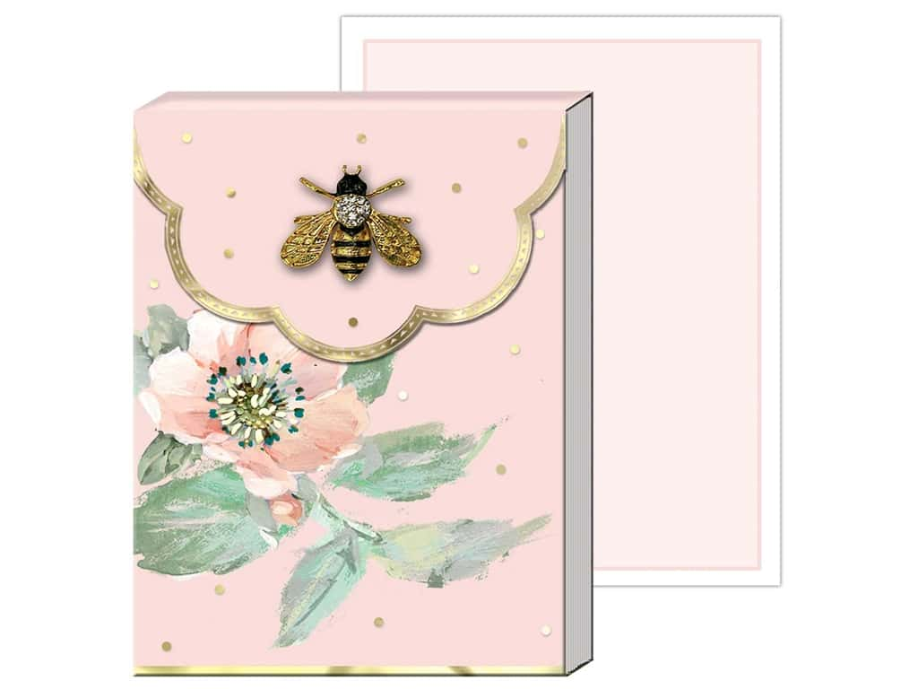 Punch Studio Note Pad Mini Brooch Pink Floral Bee