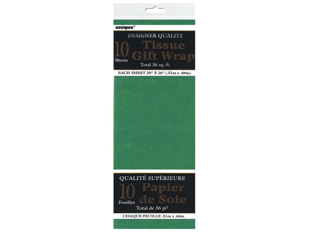 Unique Tissue Wrap 20 x 26 in. Green 10 pc.