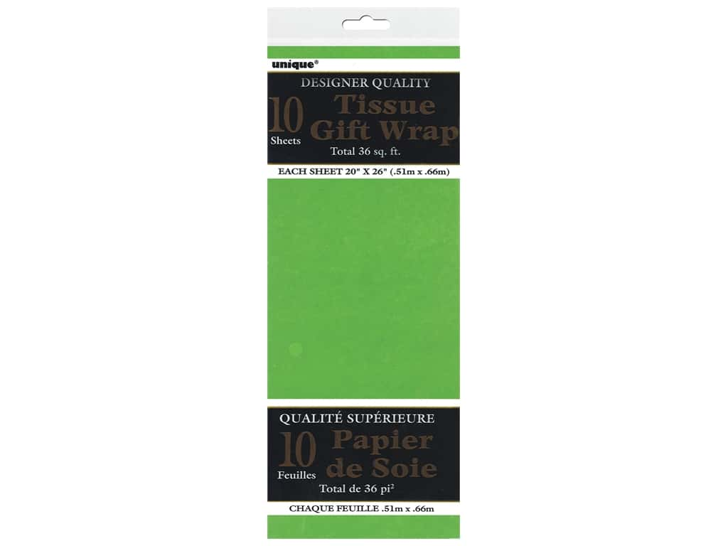 Unique Tissue Wrap 20 x 26 in. Lime Green 10 pc.