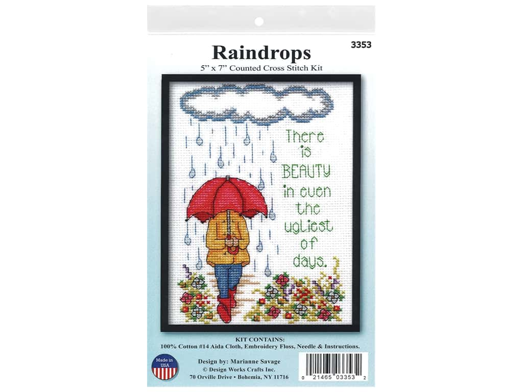 Design Works Cross Stitch Kit 5 in. x 7 in. Counted Raindrops