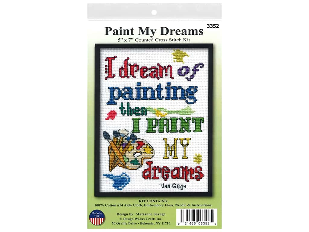 Design Works Cross Stitch Kit 5 in. x 7 in. Counted Paint My Dreams
