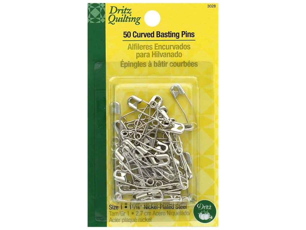 Dritz Safety Pins Curved Basting Size 1 Steel 50 pc