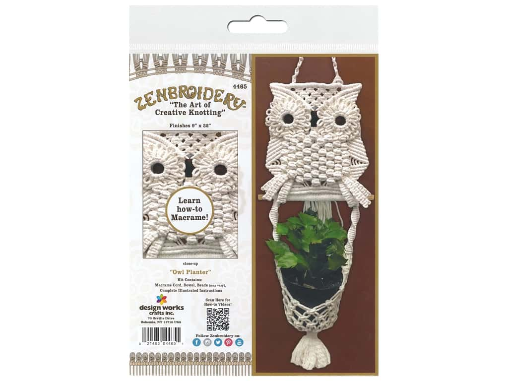 Design Works Kit Zenbroidery Macrame Owl Planter