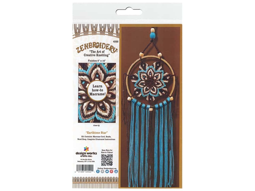 Design Works Kit Zenbroidery Macrame Earthtone Star