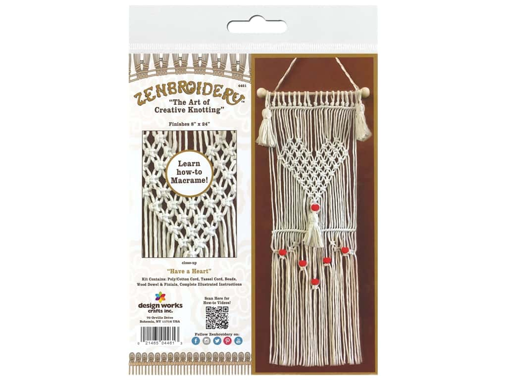 Design Works Kit Zenbroidery Macrame Have A Heart