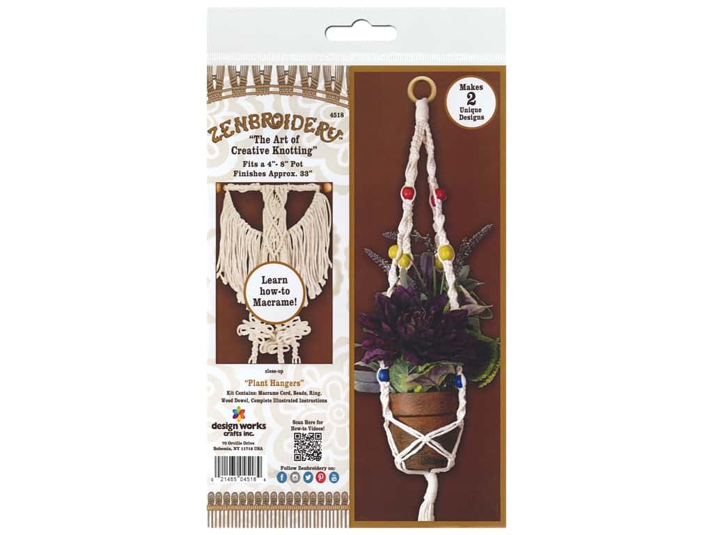 Design Works Kit Zenbroidery Macrame Plant Hangers
