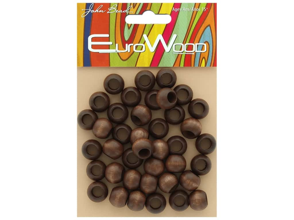 John Bead Wood Bead Round Large Hole 12 mm x 9.8 mm Dark Brown