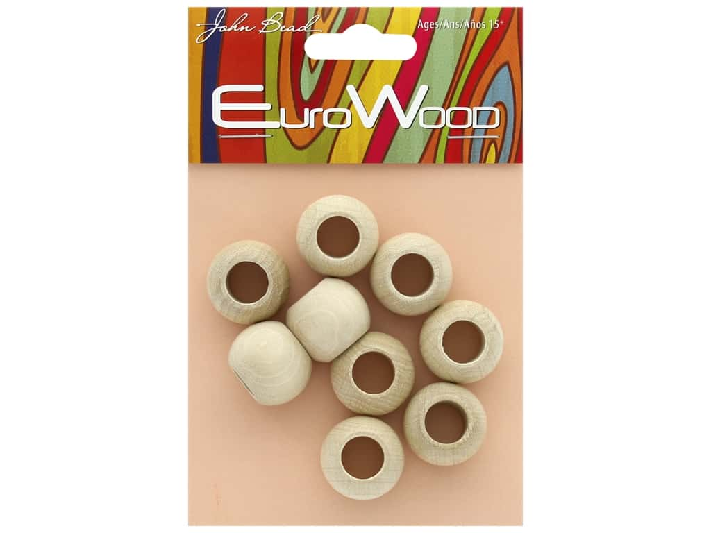 John Bead Wood Bead Round Large Hole 20 x 16 mm Natural