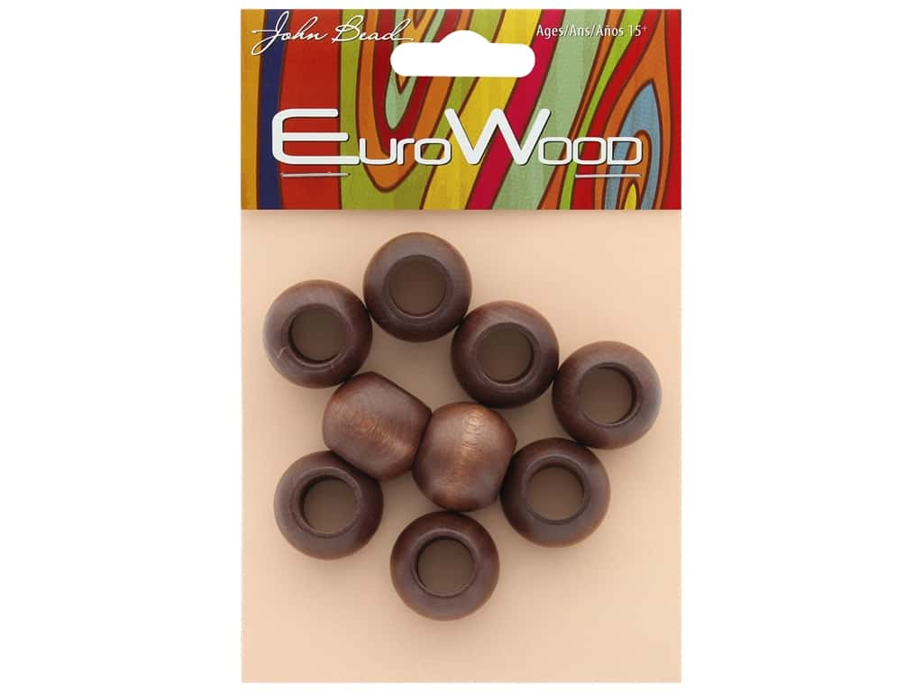John Bead Wood Bead Round Large Hole 20 x 16 mm Dark Brown