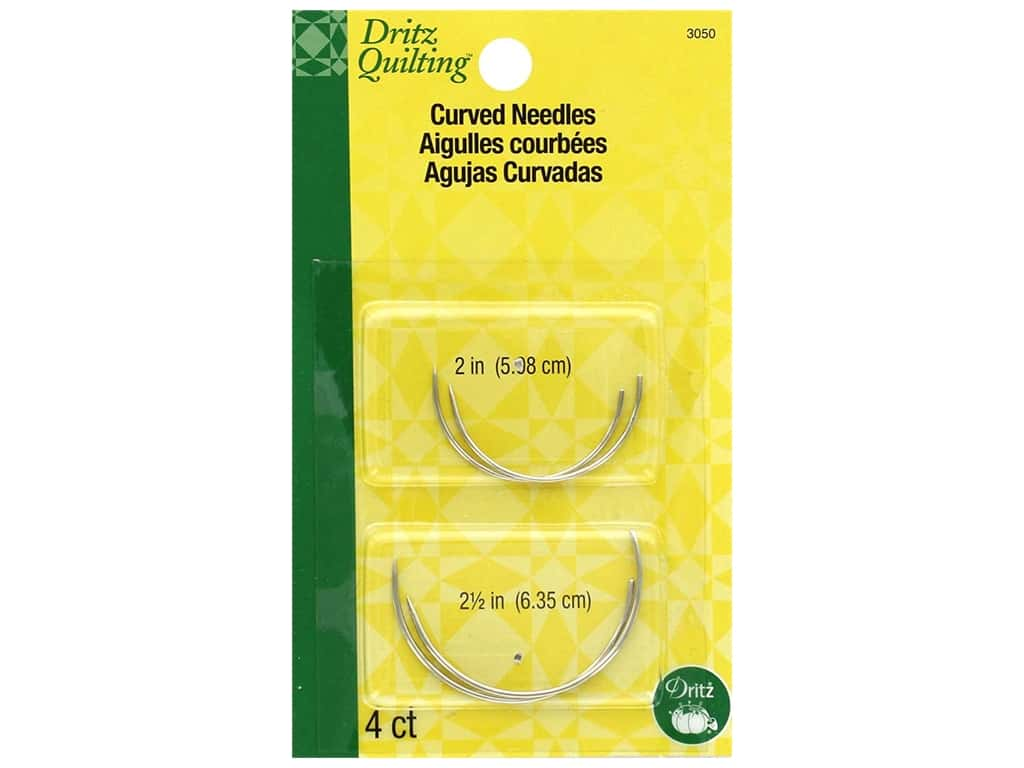 Dritz Hand Needles Quilting Curved 4 pc