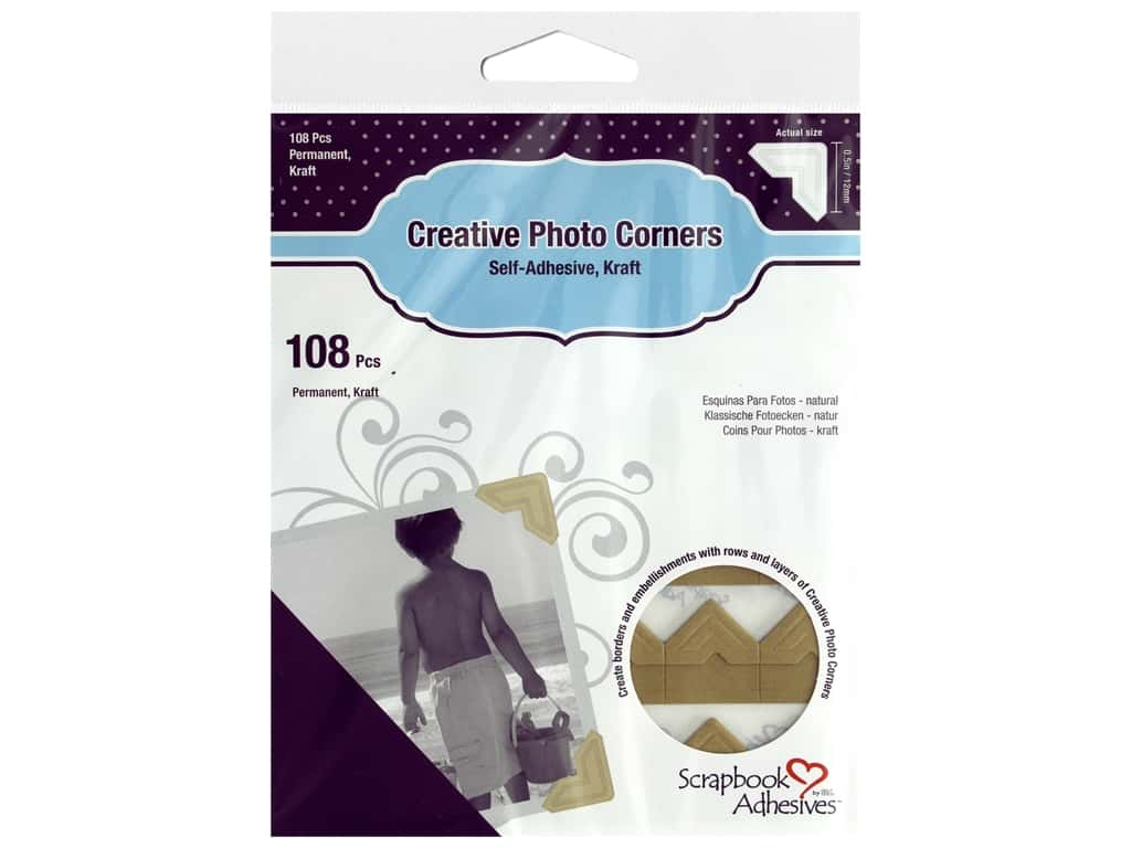 Scrapbook Adhesives Creative Photo Corners - Kraft 108 pc.