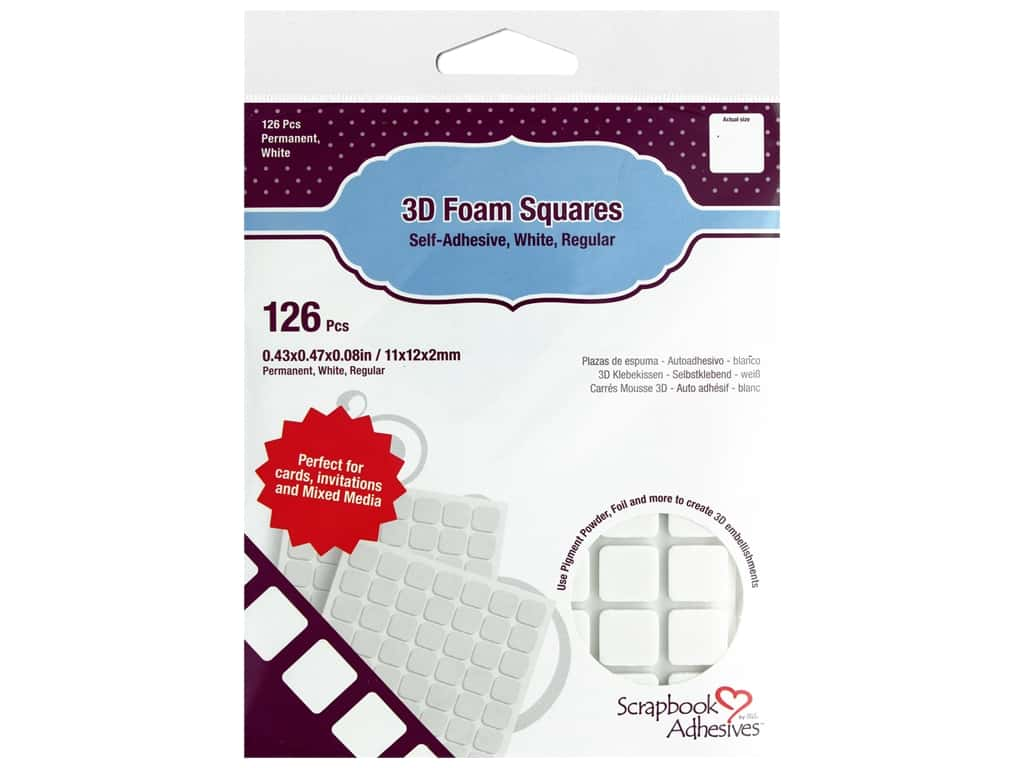 Scapbook Adhesives - 3D Foam Squares - 1/2 in. White 126 pc.