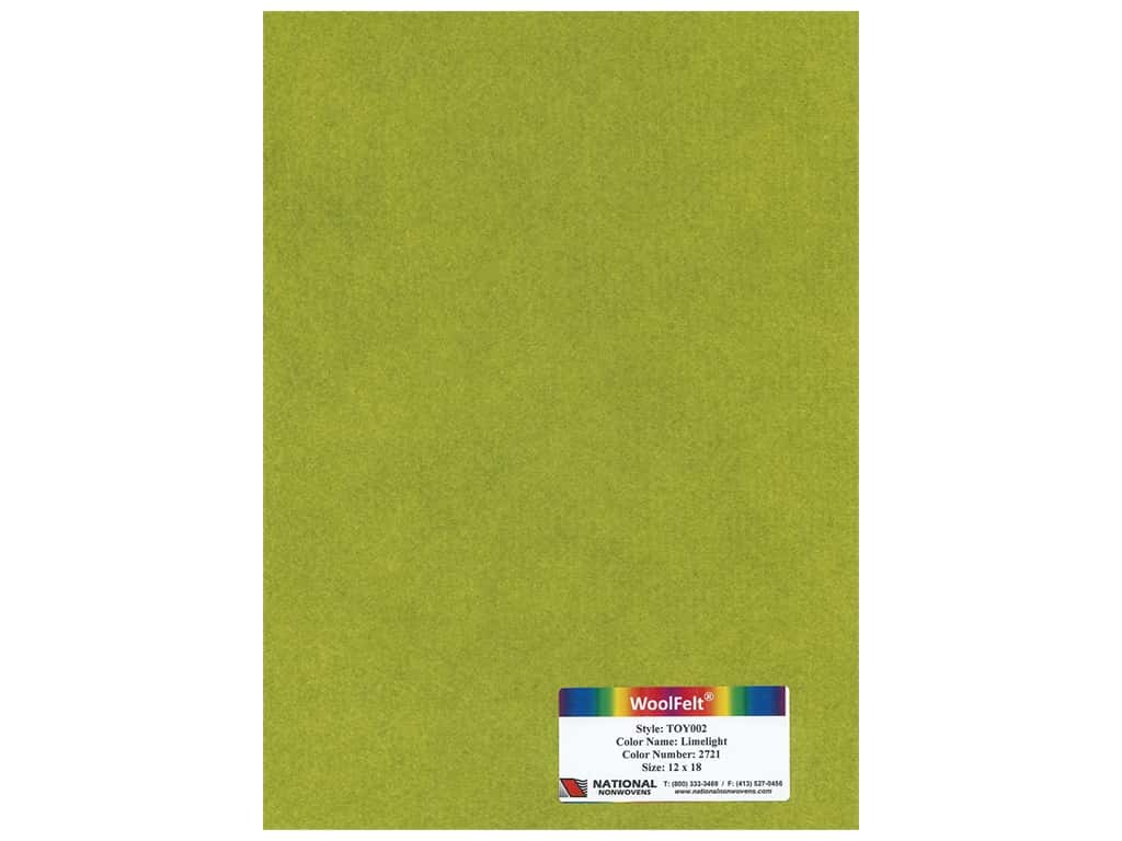 National Nonwovens Wool Felt 12 in. x 18 in. 35% Limelight (10 pieces)