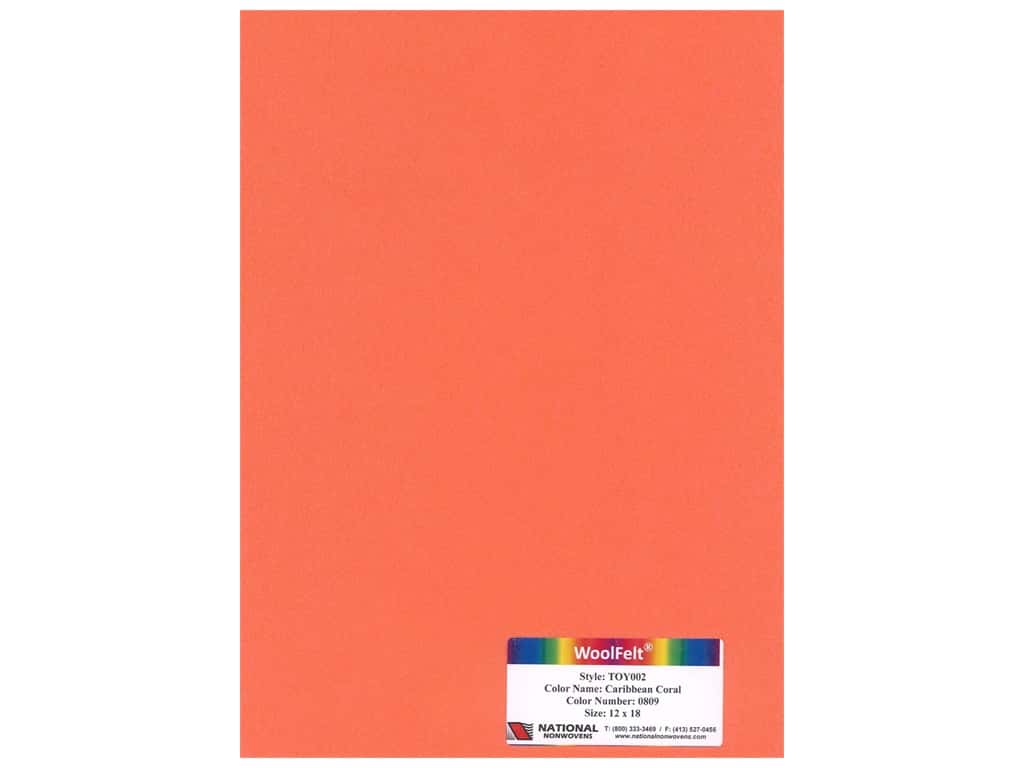National Nonwovens Wool Felt 12 in. x 18 in. 35% Caribbean Coral (10 pieces)