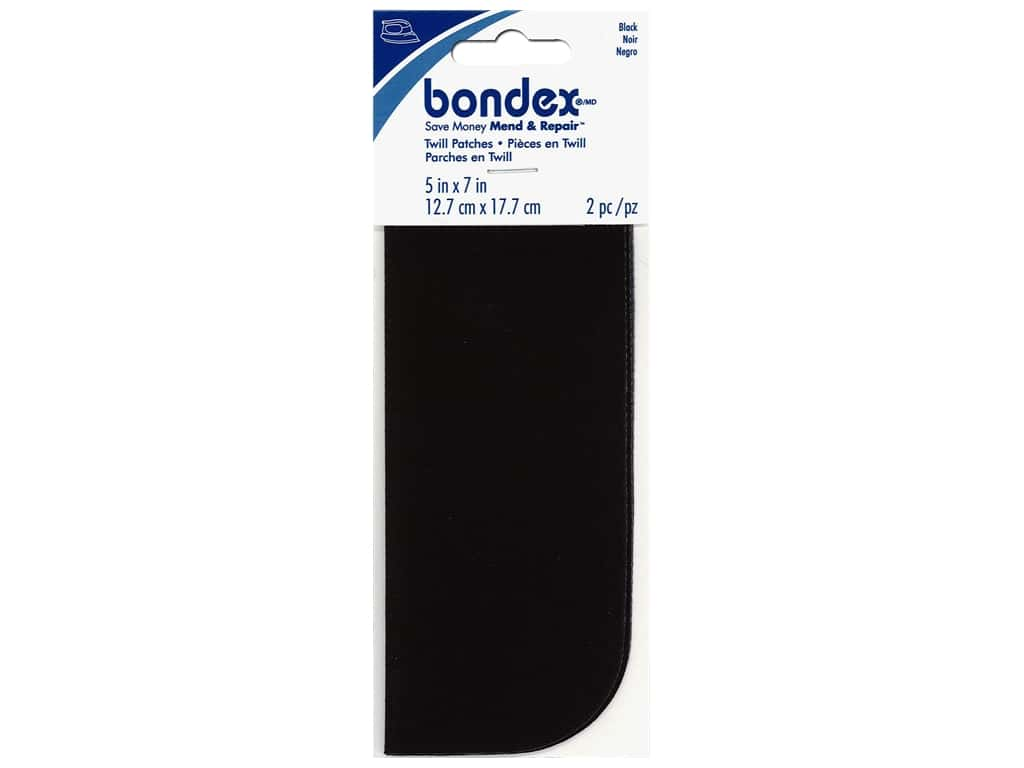 Bondex Iron On Patch 5 x 7 in. Black 2 pc.