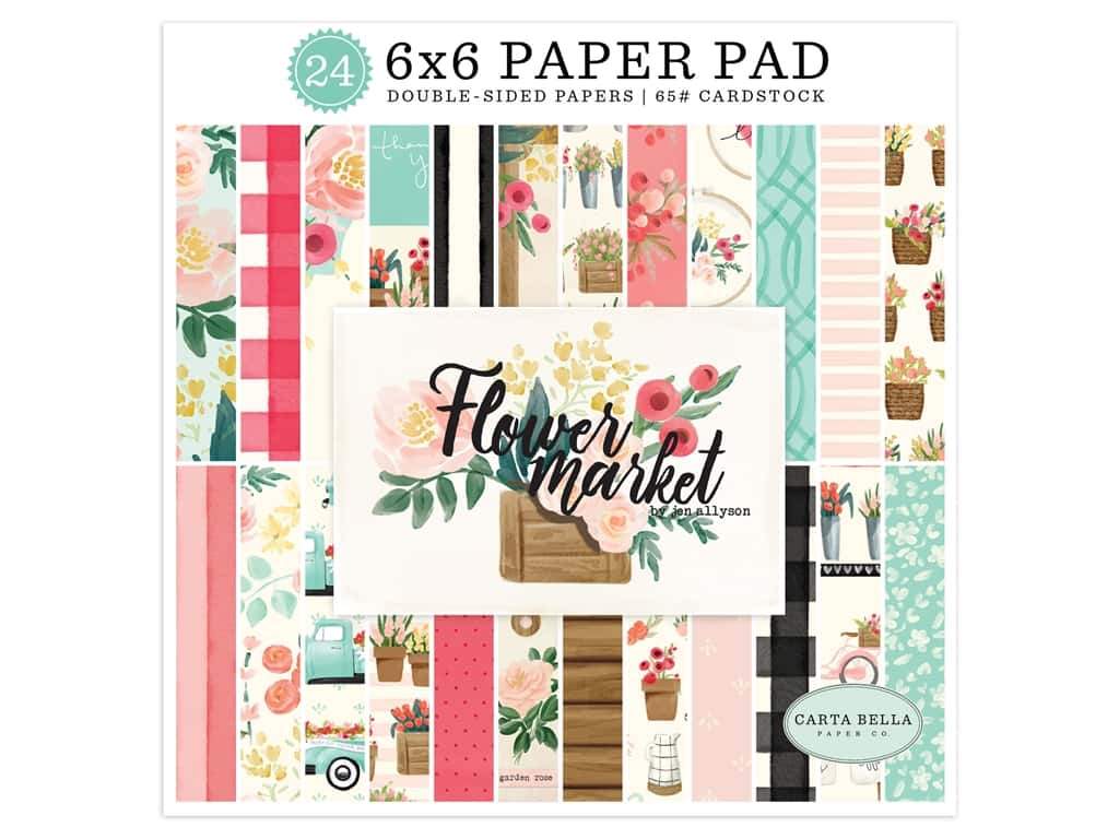 Carta Bella Collection Flower Market Paper Pad 6 in. x 6 in.