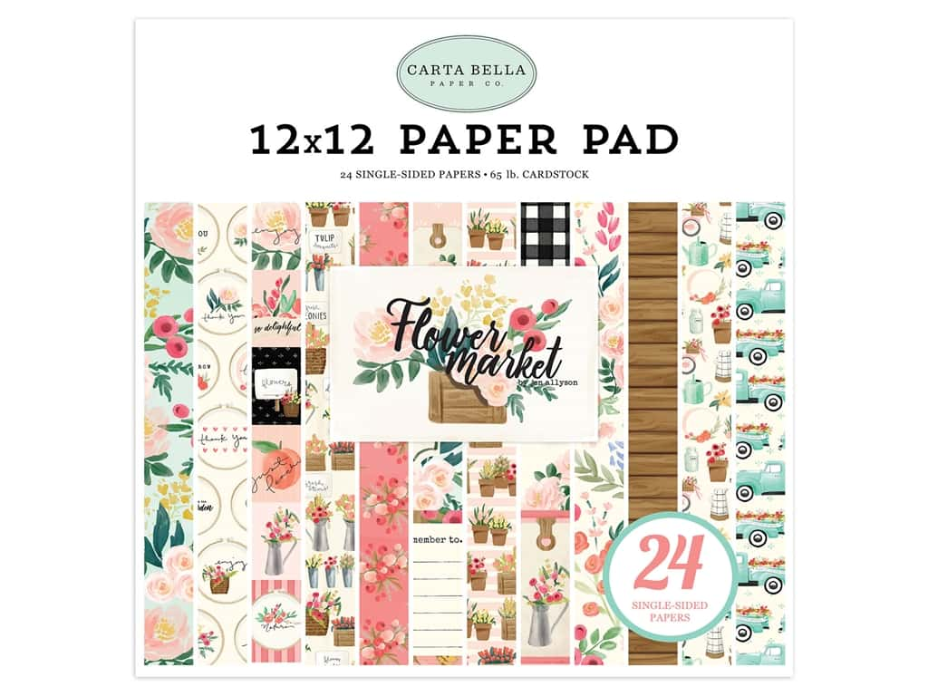 Carta Bella Flower Market Paper Pad 12 in. x 12 in.