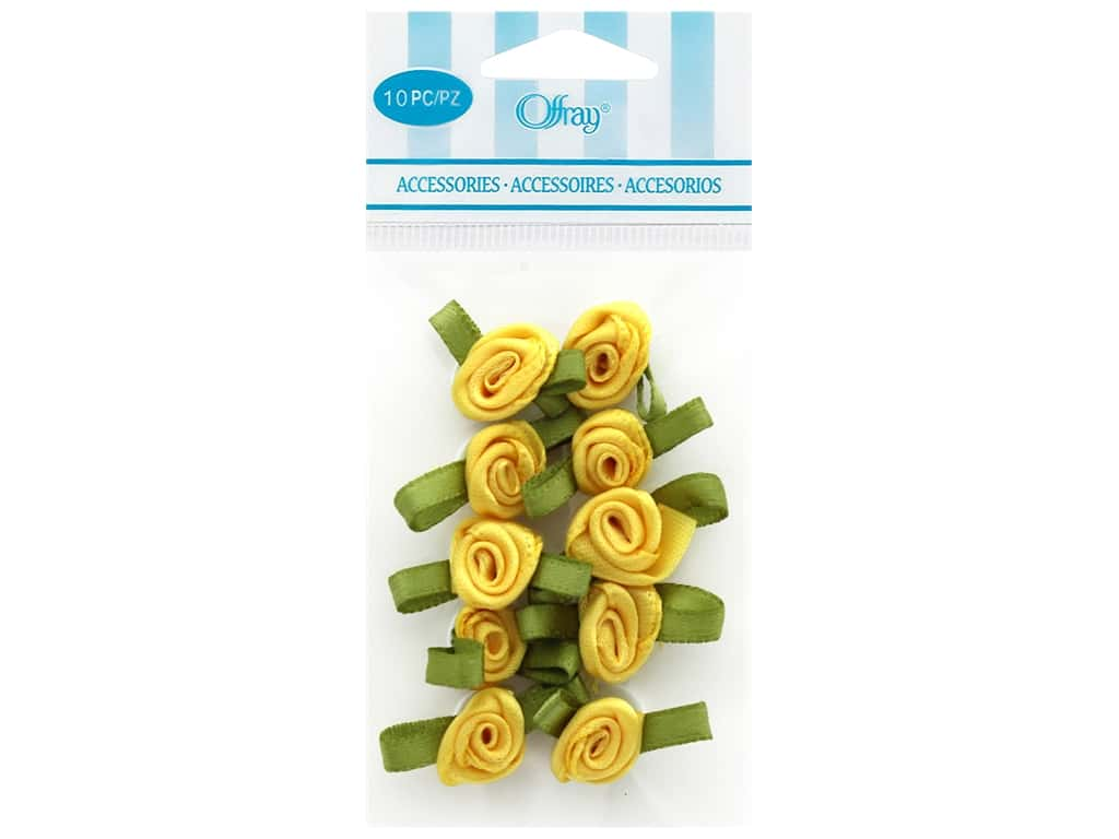Offray Small Satin Ribbon Roses 10 pc. Lemon