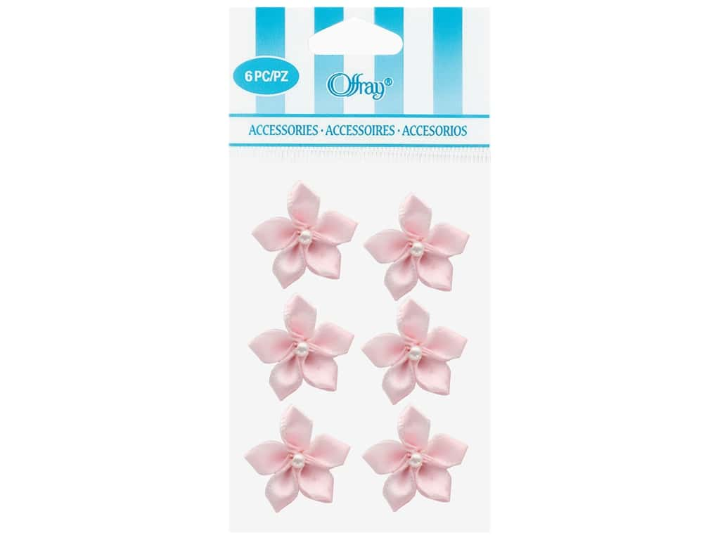 Offray Violet Ribbon Flower with Pearl 6 pc. Light Pink