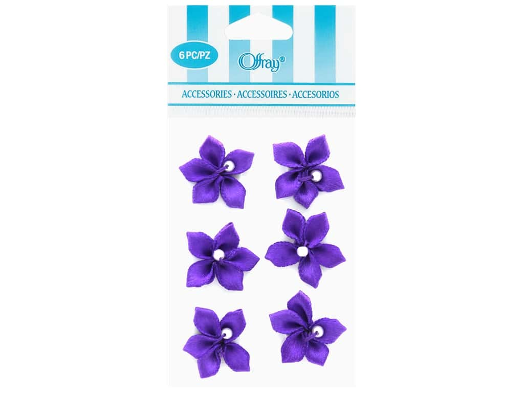 Offray Violet Ribbon Flower with Pearl 6 pc. Purple