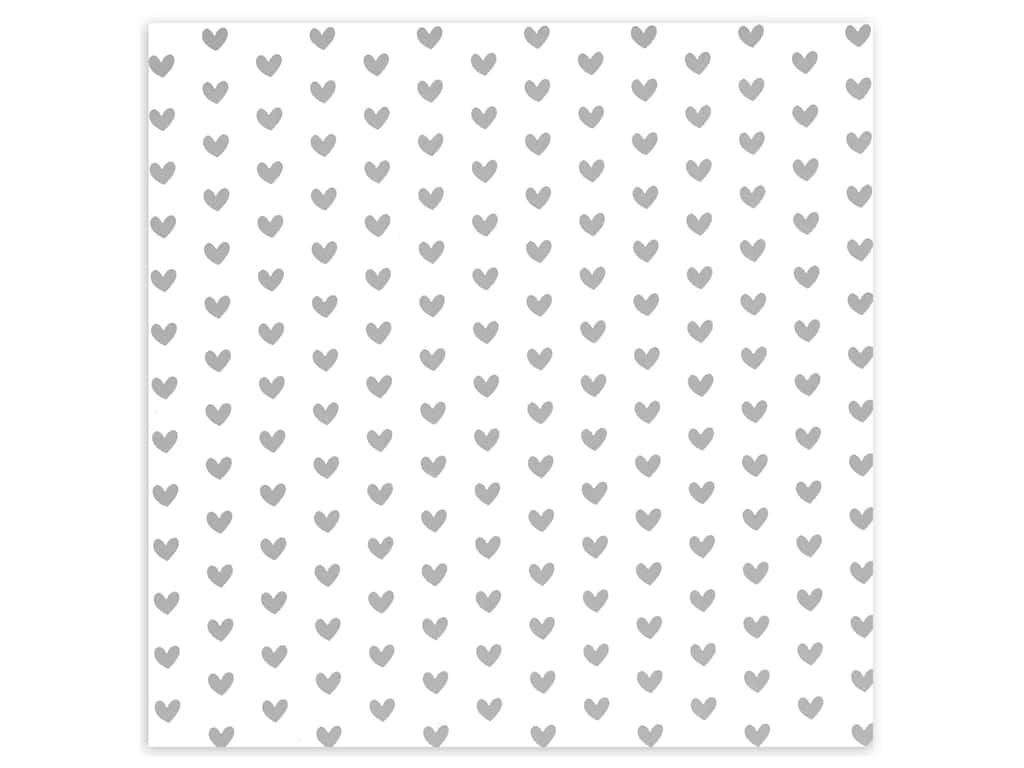 Bazzill Paper 12 in. x 12 in. Heart Foil Marshmallow White (12 pieces)