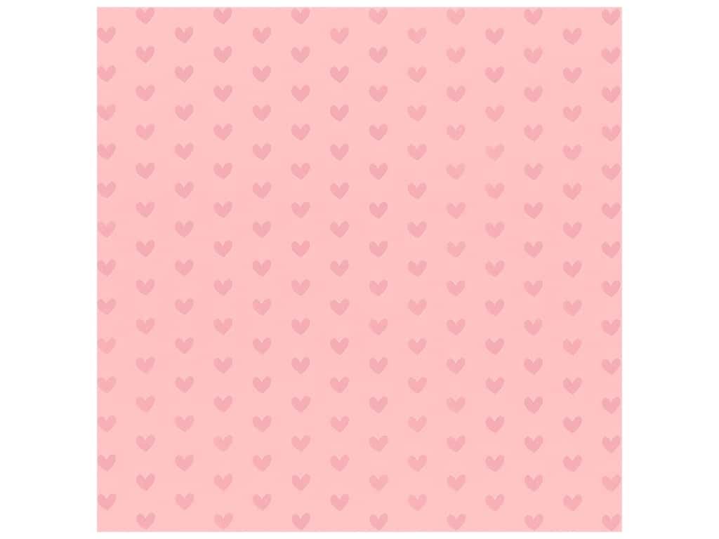 Bazzill Paper 12 in. x 12 in. Heart Foil Cotton Candy Pink (12 pieces)