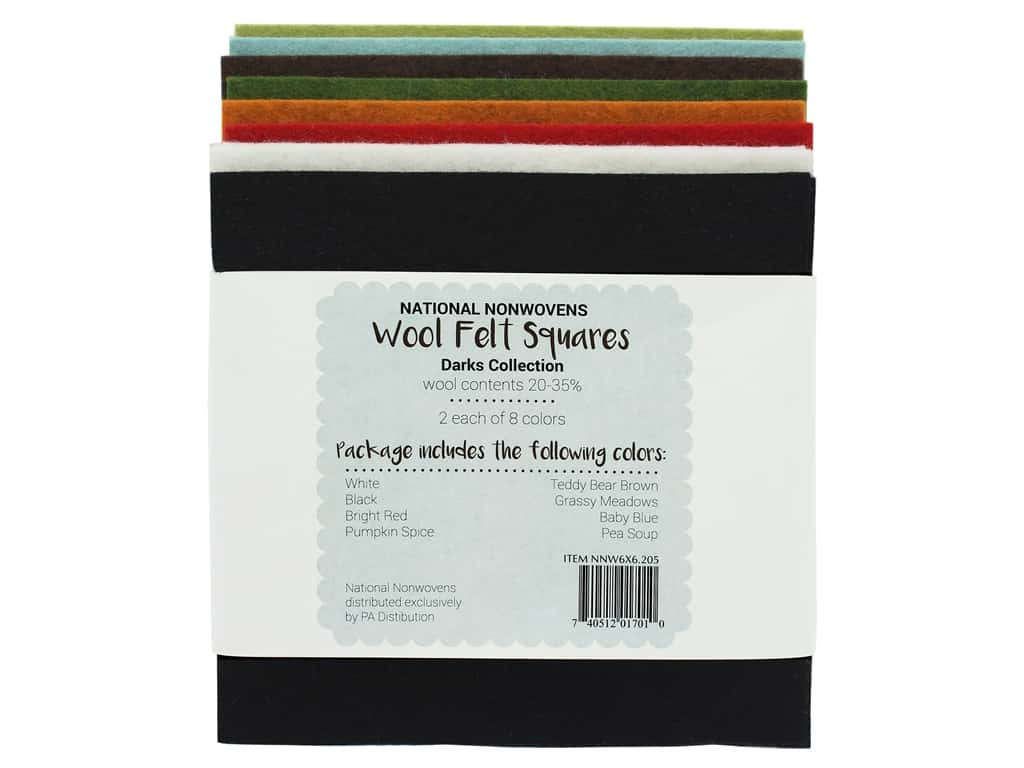 National Nonwovens 20% and 35% Wool Felt 6 x 6 in. Dark Accents