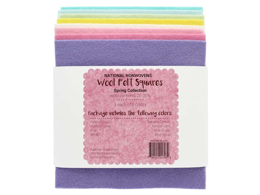 National Nonwovens Wool Felt Squares 20/35% 6 in. x 6 in. Spring Collection