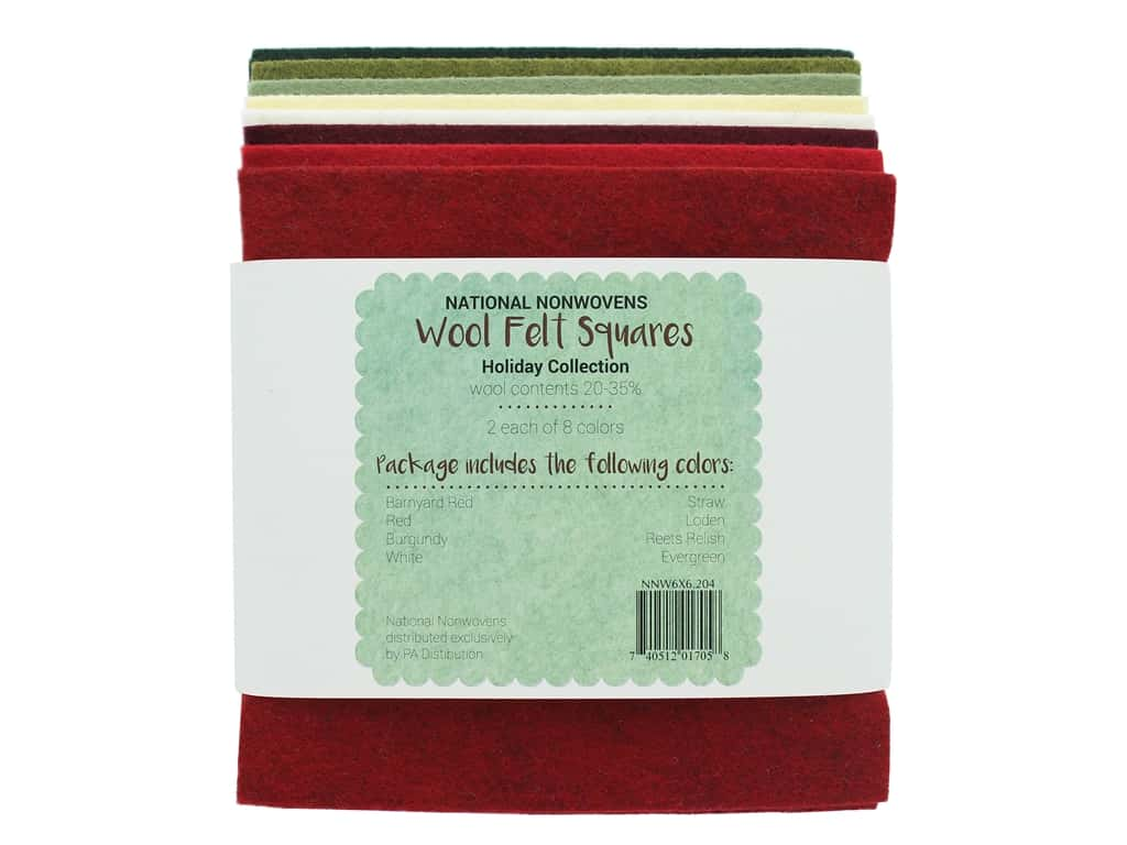 National Nonwovens Wool Felt Squares 20/35% 6 in. x 6 in. Holiday Collection