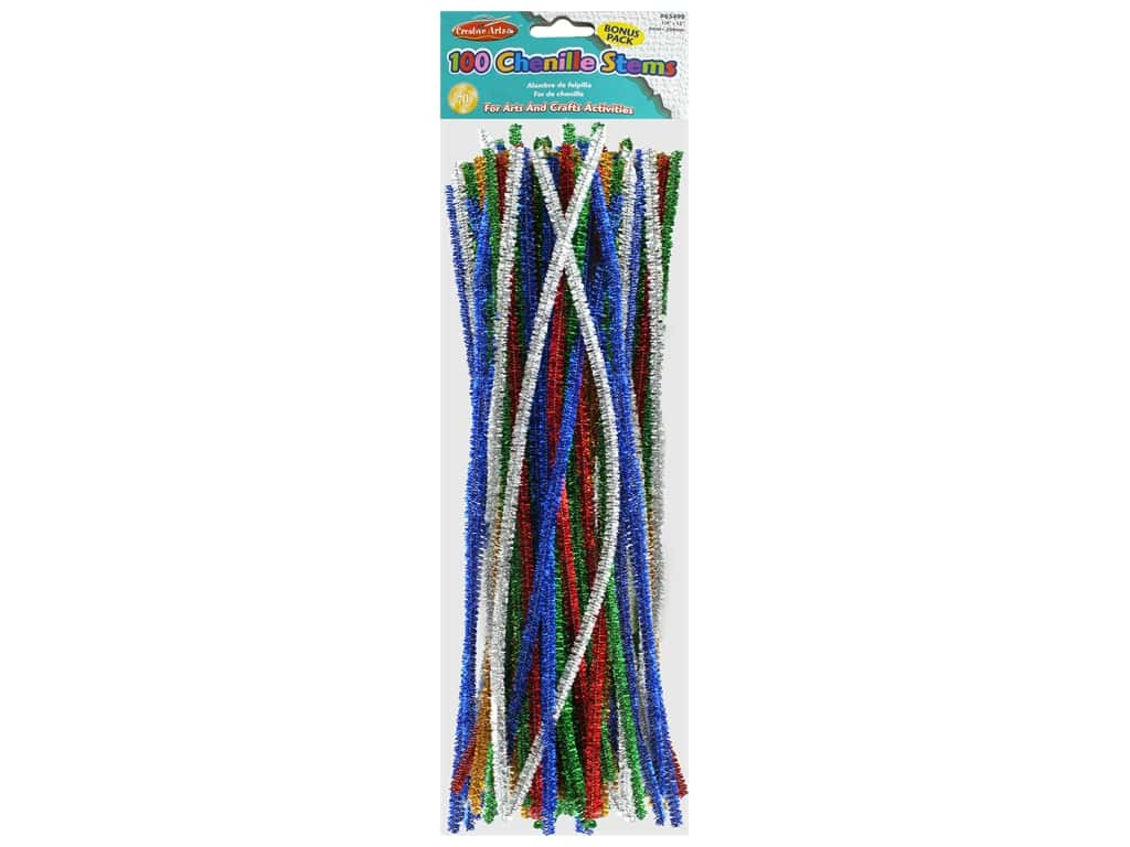 Creative Arts Chenille Stem 12 in. 6 mm Assorted Sparkle 100 pc
