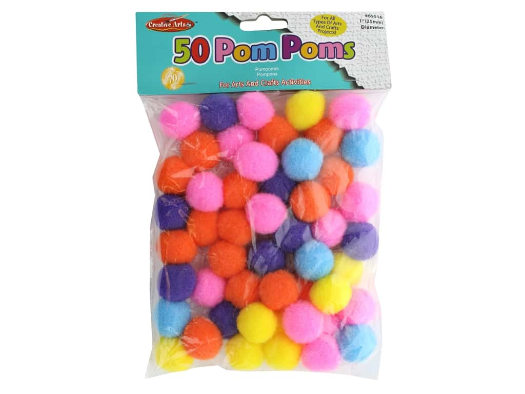 Creative Arts Pom Pom 1 in. Assorted Hot Colors 50 pc