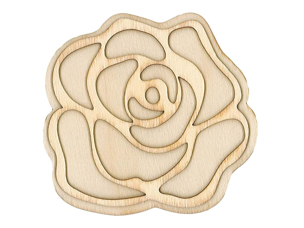 Plaid Wood Unfinished Shape Rose