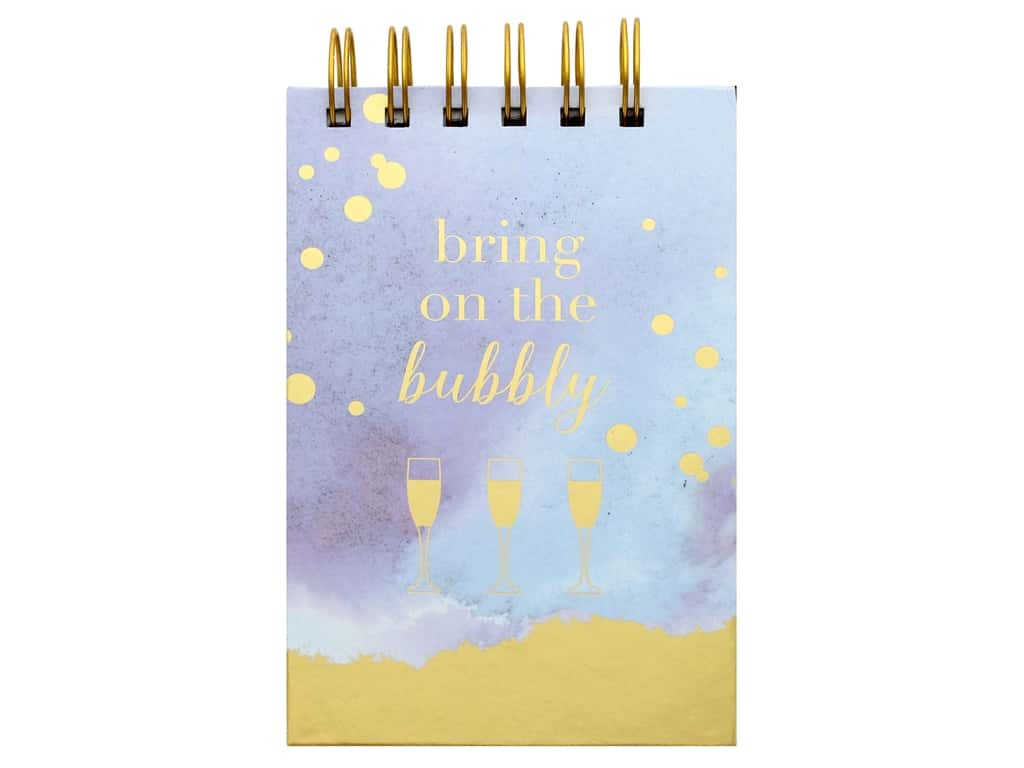 Lady Jayne Spiral Note Pad with Pen Champagne Glasses