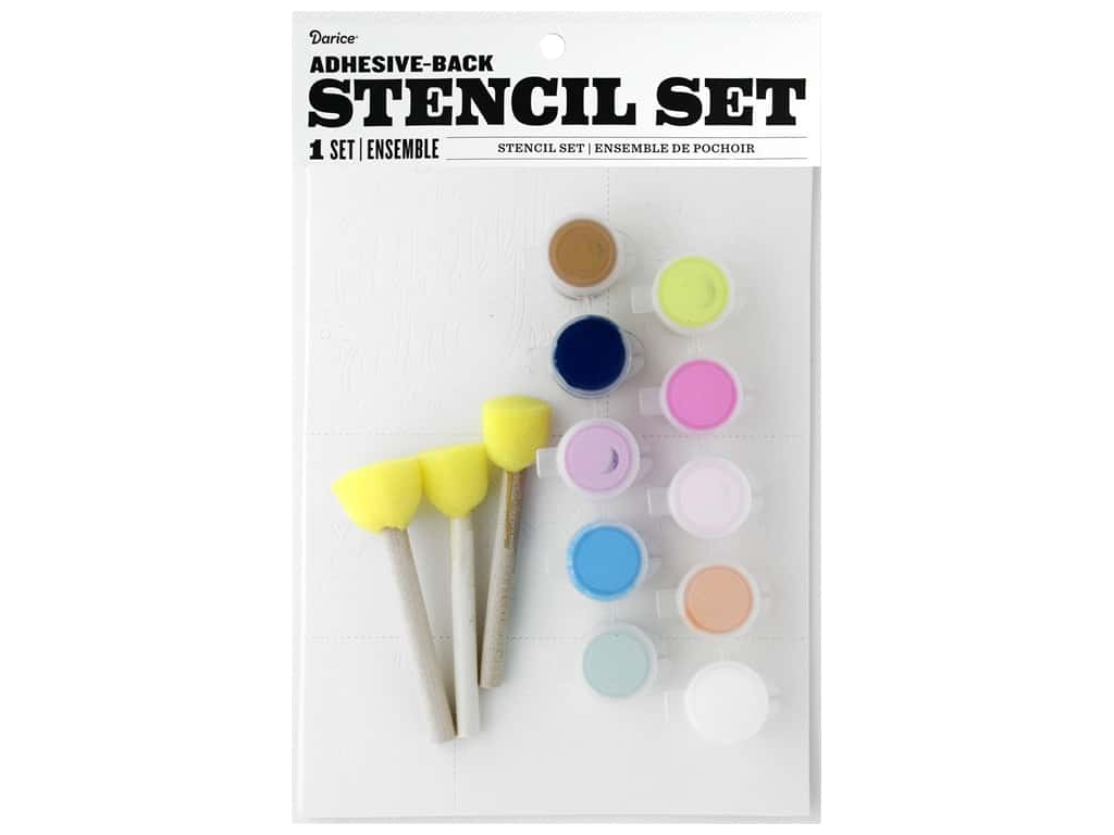 Darice Kit Fabric Paint Stencil Hooray